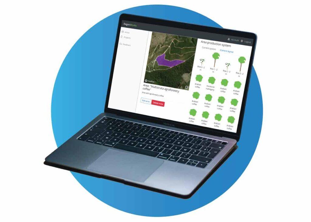 RegenWorks agroforestry platform software on computer